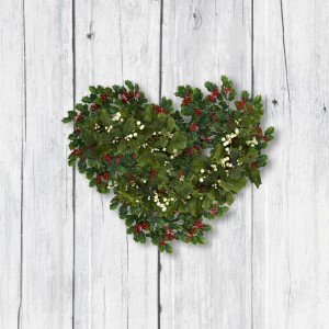 Useful background for Christmas or Thanksgiving greeting card or message. Light or white wood with holly and ivy.