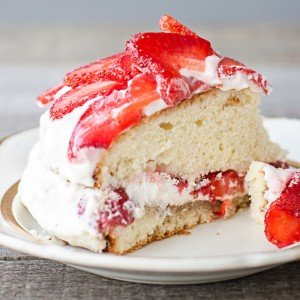 strawberry cake on the cake stand